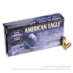 1000 Rounds of 40 S&W Ammo by Federal American Eagle C.O.P.S. - 180gr FMJ