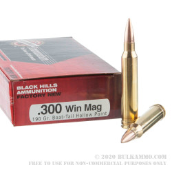 20 Rounds of .300 Win Mag Ammo by Black Hills Ammunition - 190gr HPBT
