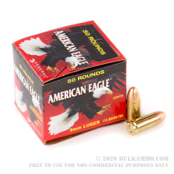 500 Rounds of 9mm Ammo by Federal American Eagle (Trayless) - 115gr FMJ