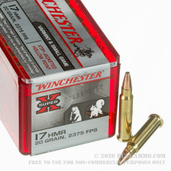 1000 Rounds of .17HMR Ammo by Winchester Super-X - 20gr XTP