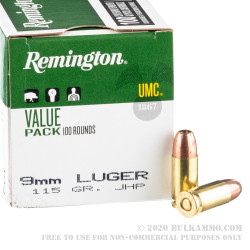 100 Rounds of 9mm Ammo by Remington - 115gr JHP