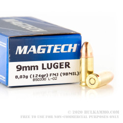 1000 Rounds of 9mm Ammo by Magtech - 124gr FMJ
