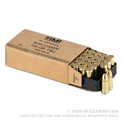 50 Rounds of 9mm Ammo by Israeli Military Industries - 124gr FMJ