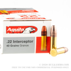 500 Rounds of .22 LR Ammo by Aguila Interceptor - 40gr CPSP