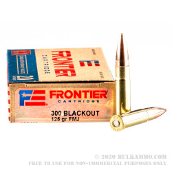 200 Rounds of .300 AAC Blackout Ammo by Hornady Frontier - 125gr FMJ