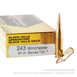 20 Rounds of .243 Win Ammo by Black Hills Gold Ammunition - 85gr TSX