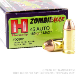 20 Rounds of .45 ACP Ammo by Hornady - 185gr Zombie Z-Max