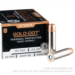 20 Rounds of .357 Mag Ammo by Speer Gold Dot Short Barrel - 135gr JHP