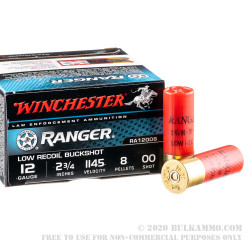 25 Rounds of 12ga Ammo by Winchester -  00 Buck 8 Pellets Low Recoil