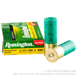 5 Rounds of 12ga Ammo by Remington Managed Recoil -  00 Buck