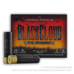 """25 Rounds of 12ga 3-1/2"""" Ammo by Federal Black Cloud - 1 1/2 ounce #2 Shot (Steel)"""