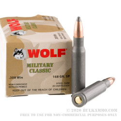 500 Rounds of .308 Win Ammo by Wolf - 168gr SP