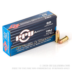 500  Rounds of .40 S&W Ammo by Prvi Partizan - 180gr TMJ