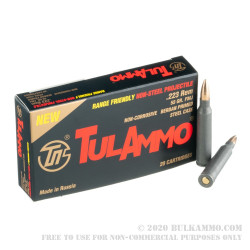 1000 Rounds of .223 Rem Ammo by Tula - 55gr FMJ