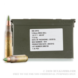 900 Rounds of 5.56x45 M855 Ammo by Federal - 62gr FMJ In Ammo Can