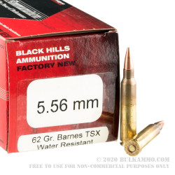 500 Rounds of 5.56x45 Ammo by Black Hills Ammunition - 62gr TSX