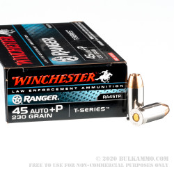 500  Rounds of .45 ACP +P Ammo by Winchester - 230gr JHP