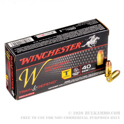 .40 S&W - 180gr Train & Defend FMJ - Winchester - 50 Rounds