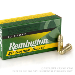 50 Rounds of .22 Short Ammo by Remington - 29gr CPRN