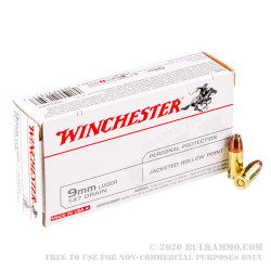 500 Rounds of 9mm Ammo by Winchester USA - 147gr JHP
