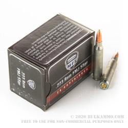20 Rounds of .223 Ammo by MFS - 55gr FMJ
