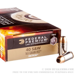 50 Rounds of .40 S&W Ammo by Federal - 165gr JHP HST
