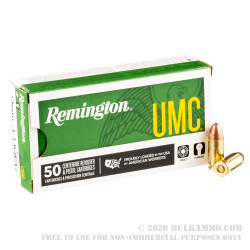 50 Rounds of 9mm Ammo by Remington UMC - 115gr FMJ