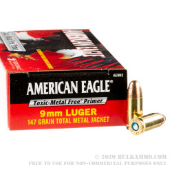 1000 Rounds of 9mm Ammo by Federal - 147gr TMJ
