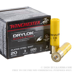 """25 Rounds of 20ga Ammo by Winchester Drylock - 3"""" 1 ounce #2 Shot"""