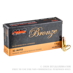 1000 Rounds of .32 ACP Ammo by PMC - 71gr FMJ