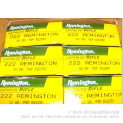 20 Rounds of .222 Rem Ammo by Remington - 50gr PSP