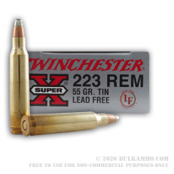 20 Rounds of Lead-Free .223 Ammo by Winchester - 55gr FSP