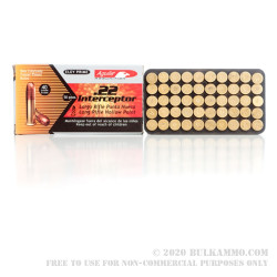50 Rounds of .22 LR Ammo by Aguila Interceptor - 40gr CPHP