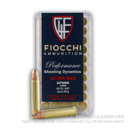 500 Rounds of .22 WMR Ammo by Fiocchi - 40gr JHP