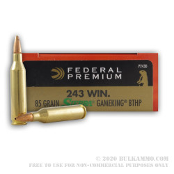 20 Rounds of .243 Win Ammo by Federal Sierra GameKing - 85gr HPBT
