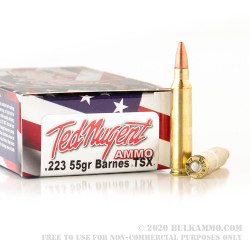 20 Rounds of .223 Ammo by Ted Nugent Ammo - 55gr TSX