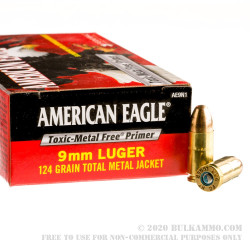 50 Rounds of 9mm Ammo by Federal American Eagle - 124gr TMJ - Non-Tox