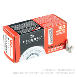 1000 Rounds of 9mm Ammo by Federal Champion Aluminum - 115gr FMJ