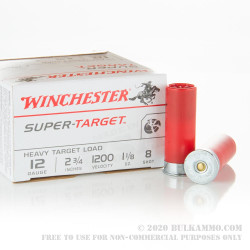 250 Rounds of 12ga Ammo by Winchester Super-Target - 1-1/8 ounce #8 shot
