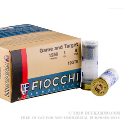 """250 Rounds of 12ga Ammo by Fiocchi Game and Target - 2-3/4"""" 1 ounce #8 shot"""