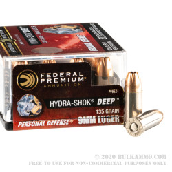 20 Rounds of 9mm Ammo by Federal Hydra-Shok Deep - 135gr JHP
