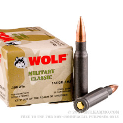 500 Rounds of .308 Winchester Ammo by Wolf Military Classic - 168gr FMJ
