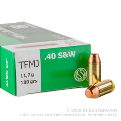 50 Rounds of .40 S&W Ammo by Sellier & Bellot - 180gr TMJ