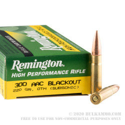 200 Rounds of .300 AAC Blackout Ammo by Remington - 220gr OTM