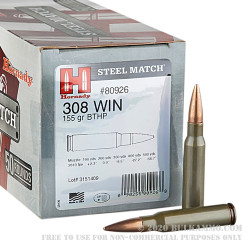 50 Rounds of .308 Win Ammo by Hornady - 155gr HPBT