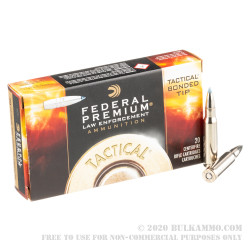20 Rounds of .308 Win Ammo by Federal LE - 168gr Tactical Bonded Tip