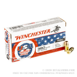 50 Rounds of .380 ACP Ammo by Winchester USA Target Pack - 95gr FMJ