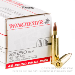 40 Rounds of .22-250 Rem Ammo by Winchester - 45gr JHP