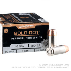 200 Rounds of .40 S&W Ammo by Speer Gold Dot - 180gr JHP