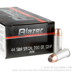 1000 Rounds of .44 S&W Spl Ammo by Blazer - 200gr JHP
